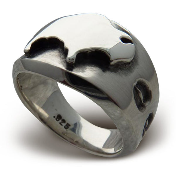 Ladies American Spirit Sterling Silver Buffalo Ring J1250