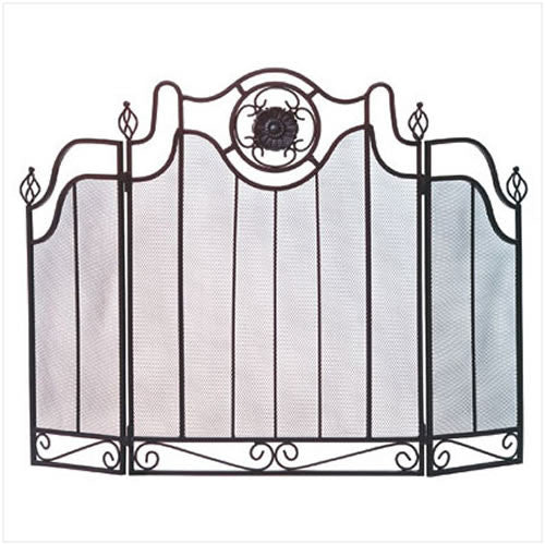 Vintage Cast Iron Medallion Folding Fireplace Screen 34770