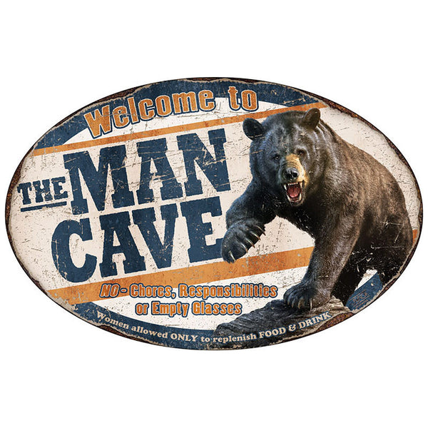 Vintage Welcome to the Man Cave Grizzly Bear Sign 1564
