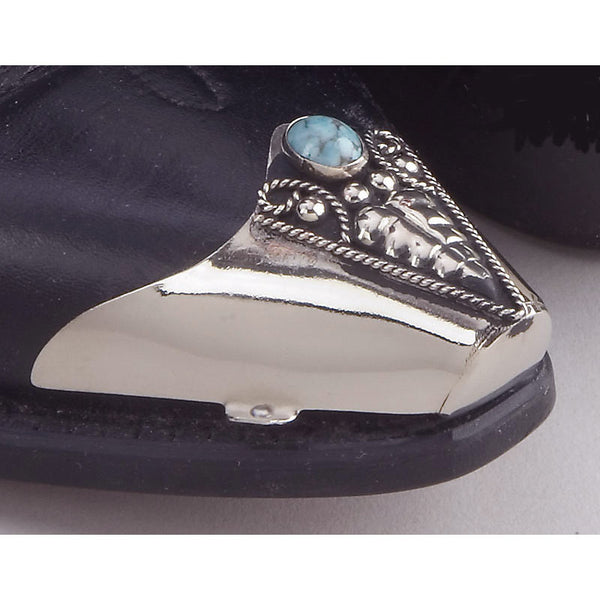 Genuine Turquoise & Silver Cowboy Boot Toe Tips WX-22