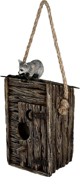 Woodland Raccoon on Outhouse Bird House 623