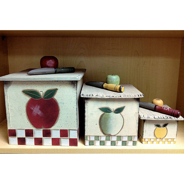 Apple Wood Vintage Canisters 26997
