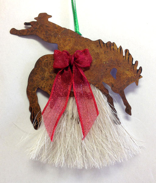 Cowboy Collectibles Natural Horse Hair Bucking Rider Christmas Ornament HCOBK