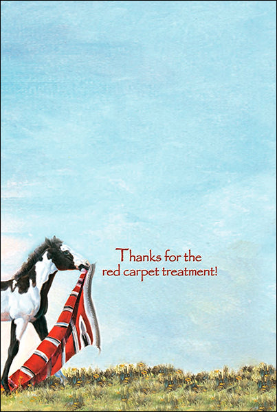 Leanin' Tree Red Carpet Treatment Horse Thank You Card