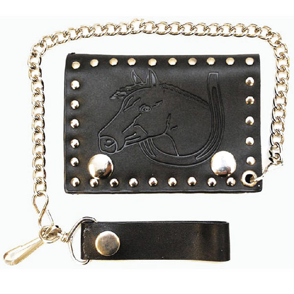 Leather Stamped & Brass Riveted Horse Head Mens Biker Wallet LW-137