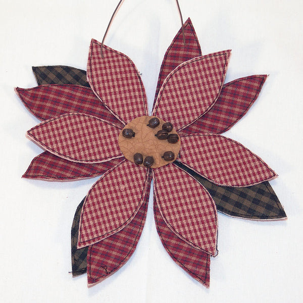 Fabric Flower Poinsettia Christmas Ornament G0314
