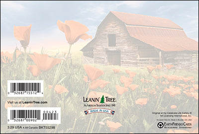 Leanin' Tree Barn In Poppies All Occasion Card