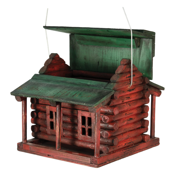 Wooden Log Cabin Bird House