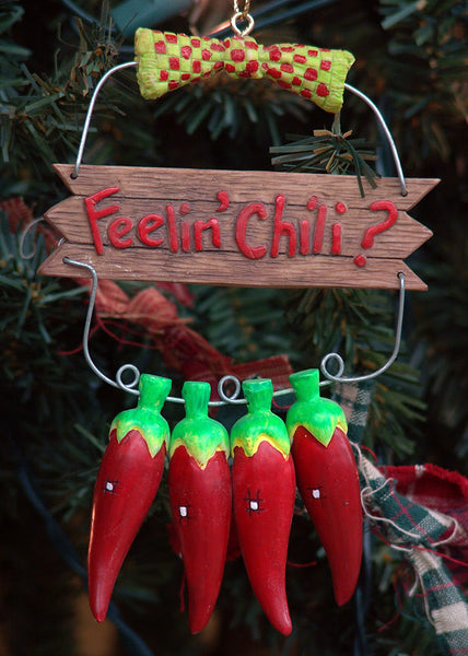 Southwestern Feelin' Chili Hot Pepper Christmas Ornament X0125