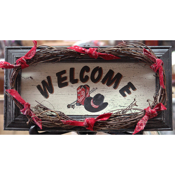 Large Red Bandana Western Welcome Sign