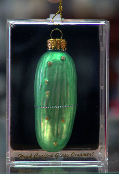 Pickle Christmas Ornament.Hand Blown German Glass Pickle Christmas Ornament