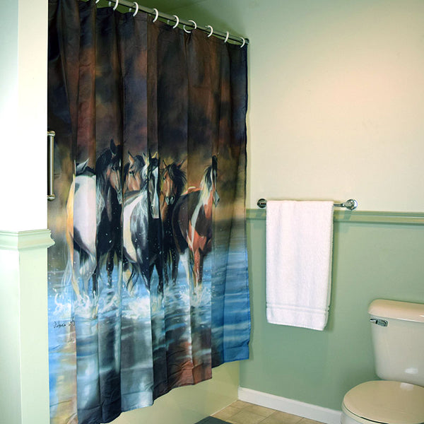 Rush Hour Horses Shower Curtain