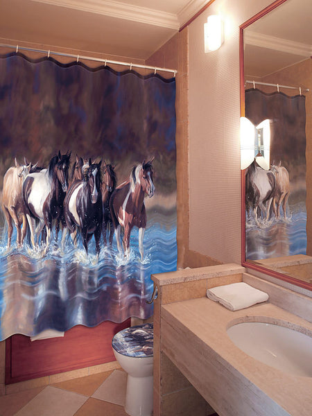 Rush Hour Horses Shower Curtain 768