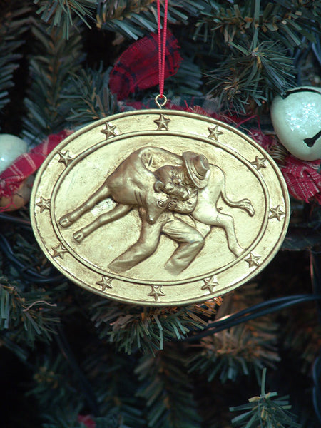 Calf Roping Medallion Christmas Ornament X0104
