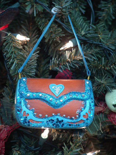 Turquoise Bling Purse Christmas Ornament G0329