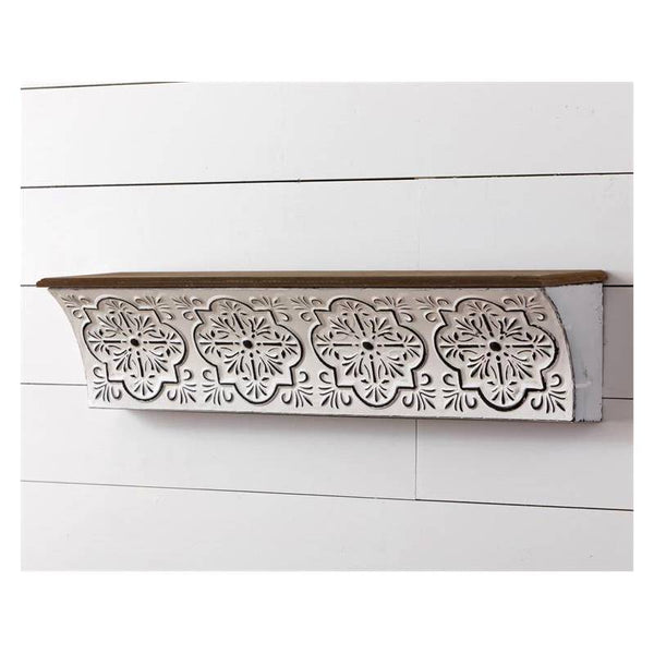 Metal Embossed Medallion Wall Shelf