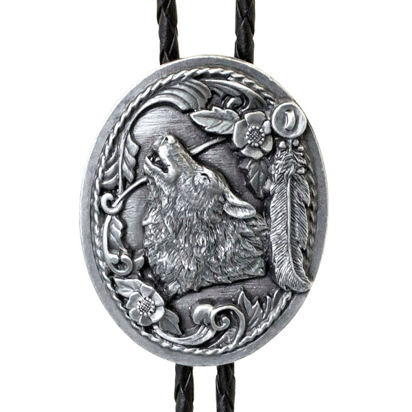 Howling Wolf and Feathers Bolo Tie