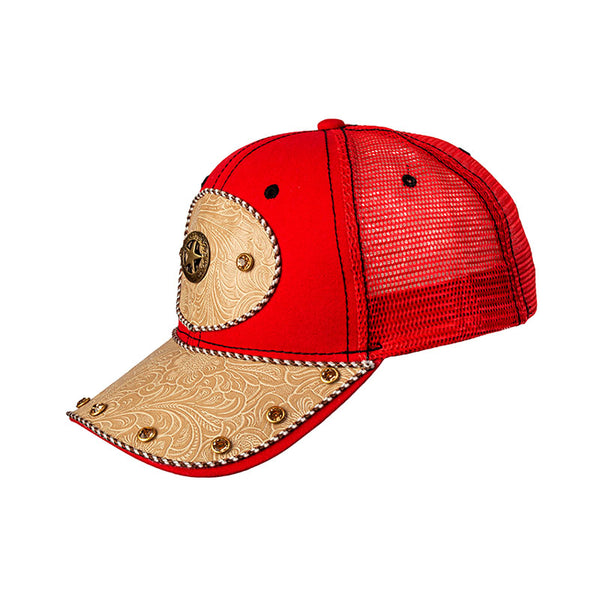 Red and Tan Embossed Leather Star Baseball Cap