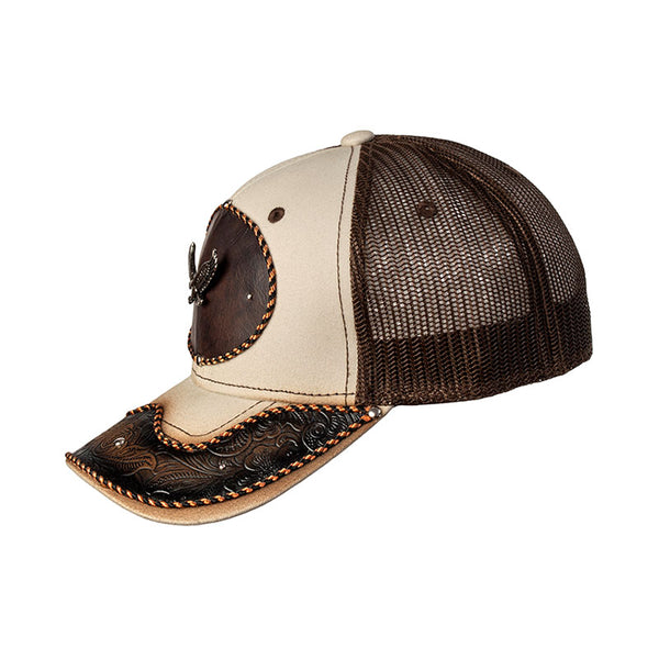 Brown and Tan Embossed Leather Eagle Baseball Cap