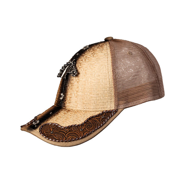 Brown and Tan Embossed Leather Horse Head Baseball Cap