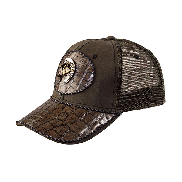 Brown Alligator Leather Horseshoe and Bull Rider Baseball Cap