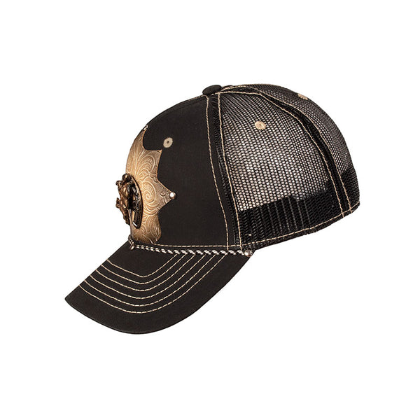 Black Horseshoe Bullrider Embossed Leather Star Baseball Cap