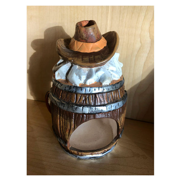 Cowboy Santa Barrel Candle Holder Luminary