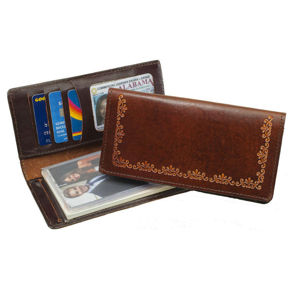 Brown Filigree Stamped Leather Checkbook Wallet