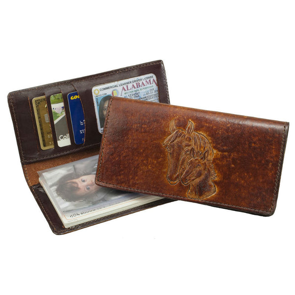 Brown Horsehead Stamped Leather Checkbook Wallet