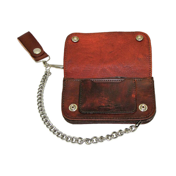 Western Scene Brown Leather Chain Wallet