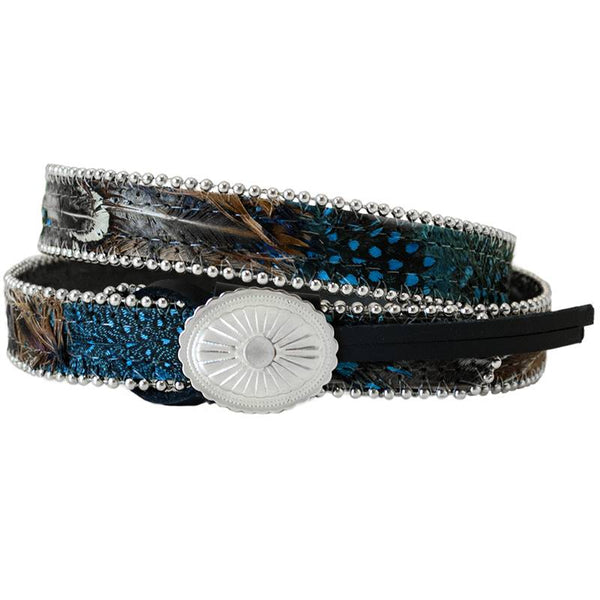 Blue Feather Concho Hat Band
