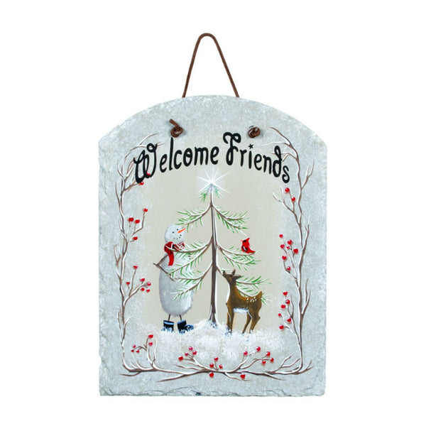 All Is Bright Welcome Friends Slate Plaque X45320