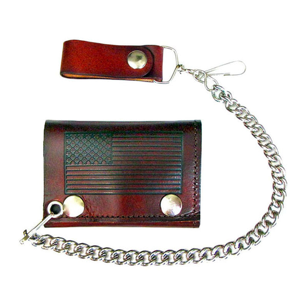 American Flag Brown Leather Chain Wallet LW-175
