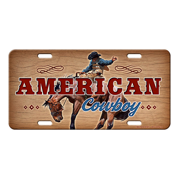 American Cowboy Bucking Bronco Vanity License Plate 2706