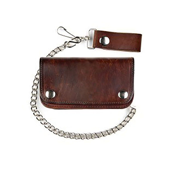 Antique Brown Leather Biker Wallet with Chain LW-412-PLAIN