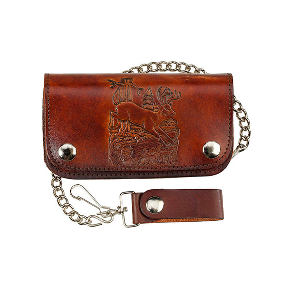 Antique Leather Deer Biker Wallet with Chain LW-412-DEER