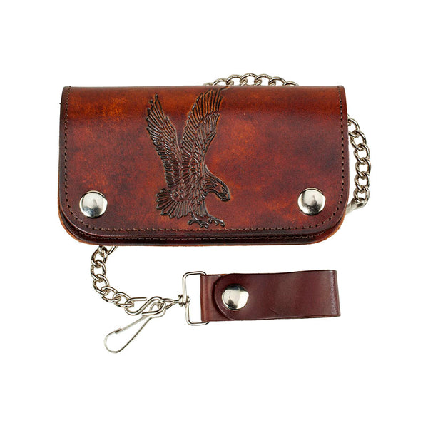 Antique Leather Eagle Biker Wallet with Chain LW-412-EAGLE