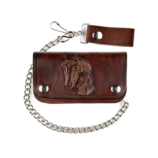Antique Leather Horses Biker Wallet with Chain LW-412-HORSE