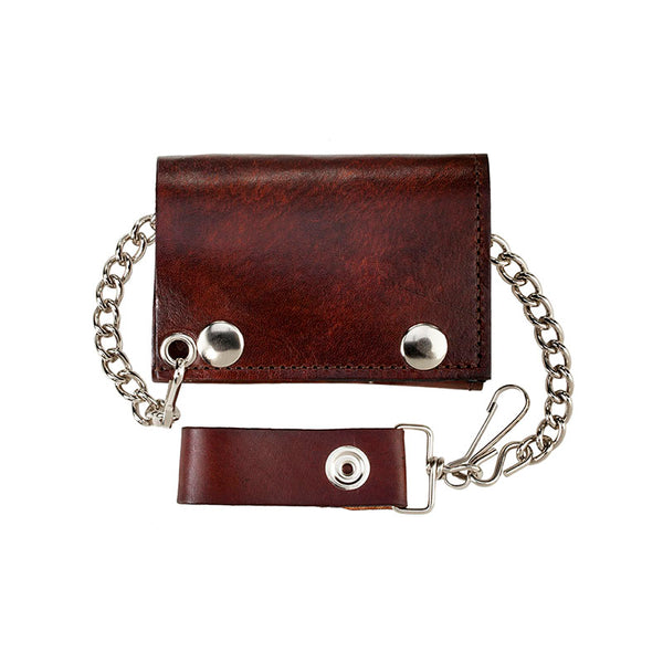 Antique Leather Trifold Wallet with Chain LW-304-PLAIN