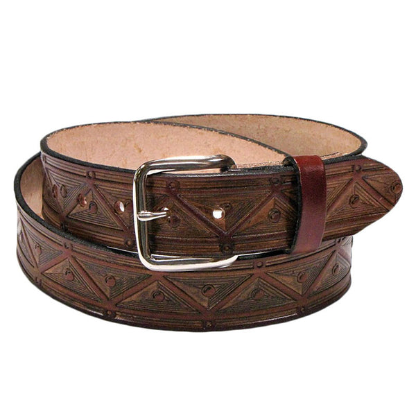 Aztec Triangles Brown Leather Belt XM-5505