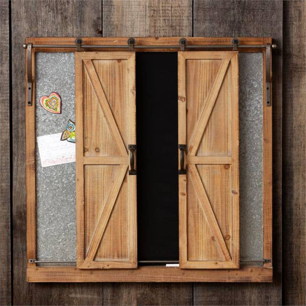 Barn Doors Covered Chalkboard Message Center 8WH582