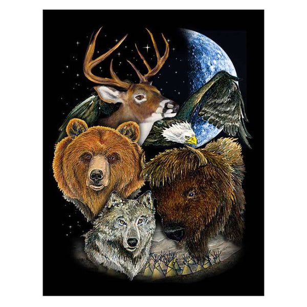 Bear Buffalo Wolf Deer and Eagle Fleece Blanket BL-0704