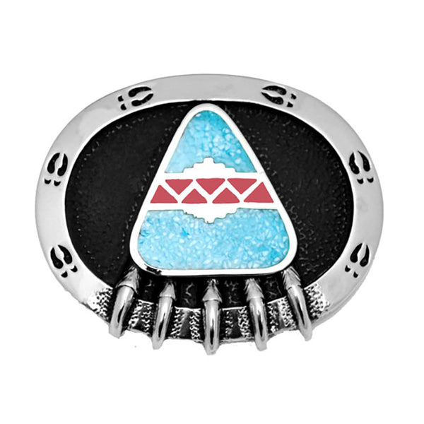 Bear Claw Turquoise and Coral Belt Buckle S-4939