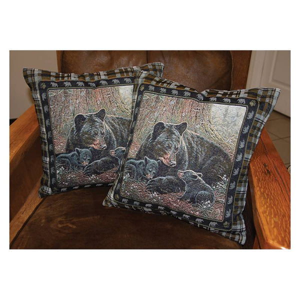 Black Bear Family Tapestry Pillows 2602