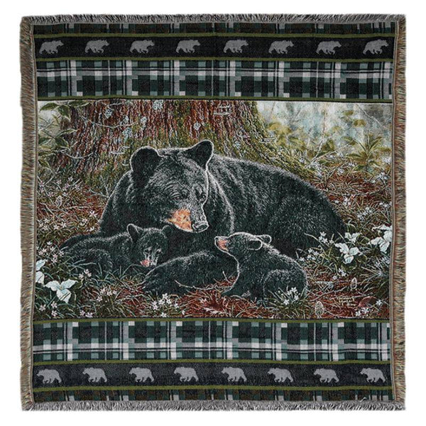 Black Bear Family Tapestry Throw Blanket 2612