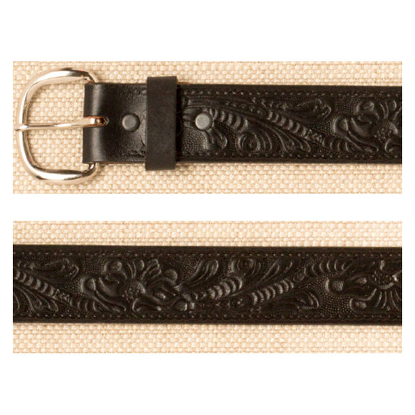 Black Floral Tooled Leather Belt XM-5509