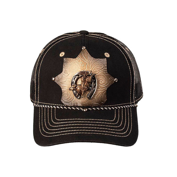 Black Horseshoe Bullrider Embossed Leather Star Baseball Cap CAP-045
