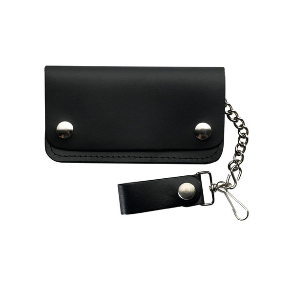 Black Leather Bikers Wallet with Chain LW-4
