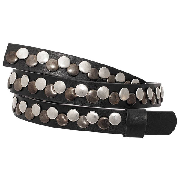 Black Leather Studded Hat Band OC-101