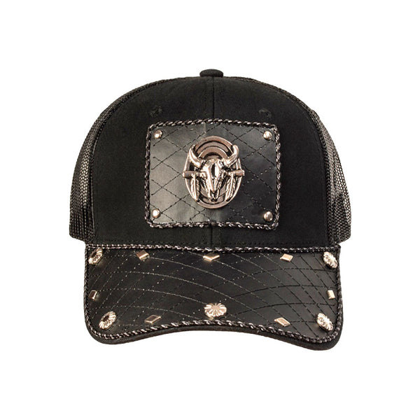 Black Steer Skull Diamond Leather Baseball Cap CAP-050